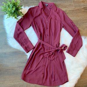 Express belted shirt dress